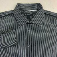 INC International Concepts Button Up Shirt Mens L Black White Long Sleeve Stripe
