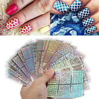 24 Sheets Hollow Irregular Grid Nail Art Stencil Manicure Stickers Template Mold