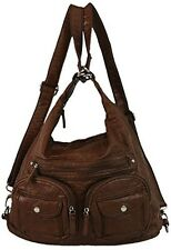 Vegan Leather Purse Convertible Straps Backpack Style with Lots of Pockets Brown
