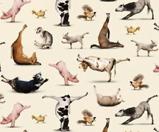 Country Farm Fabric - Yoga Sheep Cow Pig Cream - Elizabeth's Studio YARD