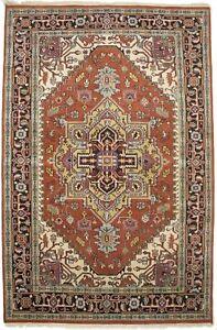 Rust Orange Vintage Tribal Geometric 6X9 Heriz Serapi Oriental Rug Decor Carpet