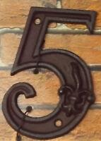 Gußeisen Hausnummer Nummer 5 Nostalgie Zahl Ziffer Lilie Landhaus ca. 8*11cm