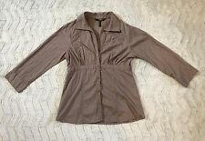 Women's BCBG Paris Button Down Semi-fitted Shirt Long Sleeve Cotton Size Medium