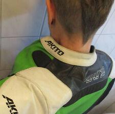 AKITO Motorrad Leder Jacke grün schwarz weiß punk gay
