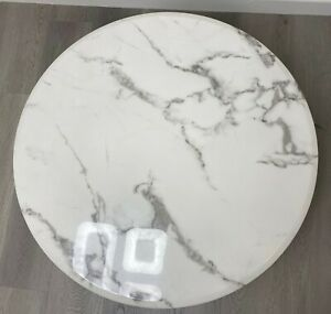 White Round Marble Coffee Table with Black Matel Base