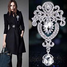 Vintage Jewelry Pendant Brooch Pin Black Rhinestone Crystal Crown Flower Gift