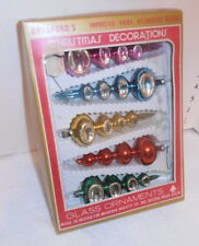 Vintage Bradford Glass Christmas Ornaments Hand decorated set of 5 Orig box
