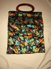 Vintage Lady's Pride Folding Tote Bag Floral Lucite/Bakelite Handle ***