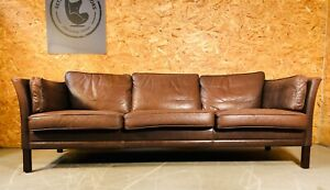 VINTAGE DANISH MID CENTURY MORGANS HANSEN 3 PERSON COGNAC LEATHER SOFA