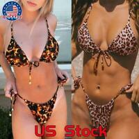 Sexy Women Thong G-String Mini Bikini Swimwear Side tie Underwear Bra Set 2pcs