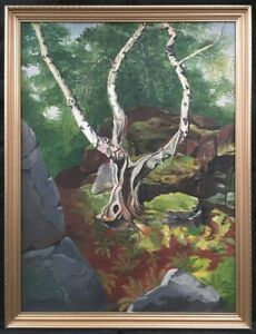 20th Century English School Oil on Board Post Impressionist Painting. Signed.
