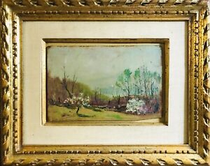 Antique GEORGE ELMER BROWNE (1871-1946) Landscape Sailboat Oil Painting MA CT NY