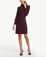 NWT $109 Ann Taylor Factory Burgundy Ribbed Turtleneck Shift Dress Size S
