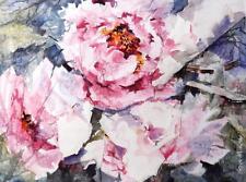 """Nuevo sera Caballero Original """"flores-peonías"""" Rosa Paeonia pintura mixta"""