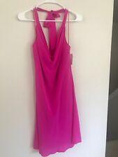 New Charlie Jade Neon Hot Pink Silk Halter Dress Size L