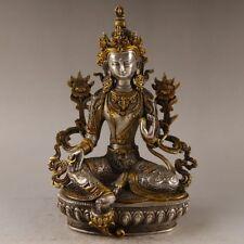 China Antique handmade Tibetan silver wenshu Bodhisattva Manjusri Statues