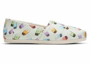NEW Womens 10M Limited Edition TOMS Matcha Green Boba Tea Print Shoes SUPER RARE