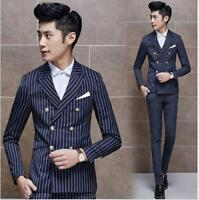 3 Pcs Mens Striped Slim Fit Double Breasted Formal Suits Jacket Vest Pants New@