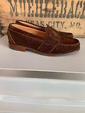 Vintage Polo Ralph Lauren Men's Brown Suede Crest Loafer Shoes 7.5 Wide EE
