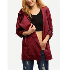 Women Warm Hooded Long Coat Jacket Ladies Trench Windbreaker Parka Outwear