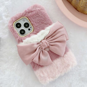 Girly Faux Fur Case W/ Cute Silk Bow Soft Fluffy Furry Shockproof Phone Cover A4