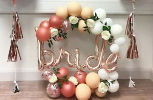 """ROSE GOLD BALLOON BRIDE SCRIPT 40"""" WEDDING DECORATION PARTY HEN ENGAGED PROPOSE"""