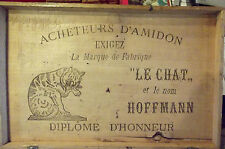 Ancien Coffre Malle Bois Vintage Rétro Deco Voyage le Chat HOFFMANN Amidon Rare