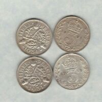 1918/1921/1931 & 1934 SILVER THREE PENCE COINS IN GOOD VERY FINE CONDITION