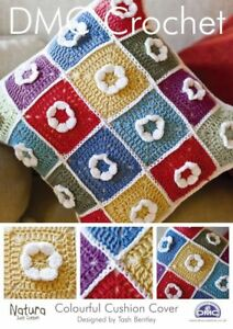 DMC Crochet Pattern 14893L/2 Colourful Flower Granny Square 4 Ply Cushion Cover