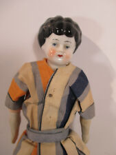 Doll Germany China Head Hand Legs Striped Pants Suit Antique Art Deco c1880