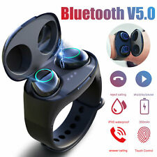 TWS Wireless Bluetooth 5.0 Earbuds Headset Touch Headphones Earphone Wristband
