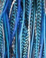 8-10 inch Turquoise,White and Grizzly 100% Real Hair 5 Feather Extensions bonded