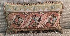 "Leaves Floral Aubusson Style 100% Wool Hand Woven Needlepoint Pillow 16""x26"""