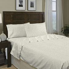 Divatex Printed Dot 250 Thread Count Cotton Sateen Sheet Set Full Size Blue