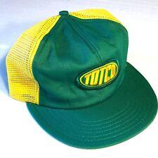 Vtg 70 80's TOTCO ROUGHNECK Mesh TRUCKER Hat Yellow Green Snapback REDNECK Cap