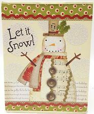 Snowman Let it Snow Christmas Holiday Glitter Cards 12ct Gibson Decorator Box