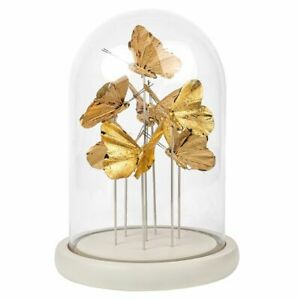 Glass large bell jar with gold Butterflies beautiful display - 2725