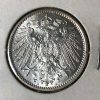 1915-A Germany 1 Mark Silver Coin BU+ Condition