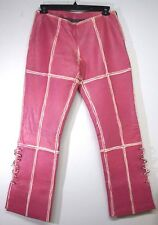 Pelle Pelle Leather Leather Pants Pink Rock & Roll Distressed Hippie Size 14 EUC