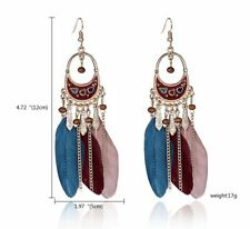 Earring Boho Festival Party Tribal Dream Catcher Feather Multi Tassel Fashion