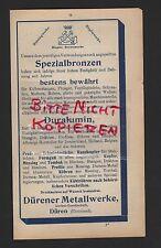 DÜREN, Werbung 1915, Dürener Metallwerke AG Spezialbronzen Duralumin