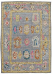 Vegetable Dye Oushak Turkish Oriental Area Rug Wool Hand-Made Ushak Carpet 6'x8'