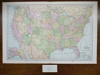 "Vintage 1900 UNITED STATES of AMERICA Map 22""x14"" ~ Old Antique Original USA"