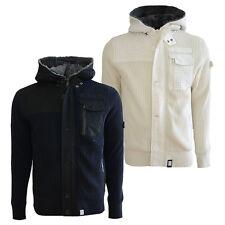 Men,s Crosshatch Designer Heavy Knitted Zip Up Cardigan Jacket with Fleece Hood