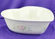 "Vintage Pfaltzgraff Heart Shaped Serving Bowl Dish Tea Rose 8 1/4"" x 3"""