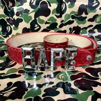 A BATHING APE BAPE BUCKLE REAL LEATHER BELT RED CAMO Made in Japan Vintage Rare
