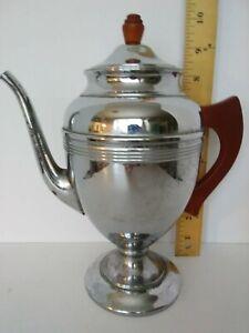 Vintage MCM 1940's Chrome Coffee Pot Red Bakelite Handles