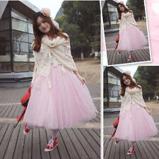 Women 5 Layers Tutu Skirt Fancy Dress Fairy Party Princess Gauze Tulle Ballet