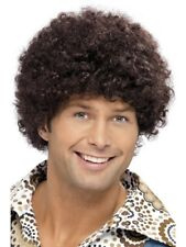 Brown 1970's Disco Dude Wig Adult Mens Smiffys Fancy Dress Costume