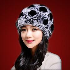 Luxury Knitted Rose REX Rabbit Fur Open Knitting Wool Hat Lining Beanie Women